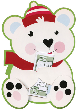 polar bear money grabber christmas money gift card holder cards 6 pack by paper magic - Christmas Card Money Holder