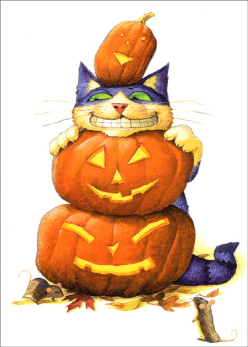 Cat With Stacked Pumpkins (1 card/1 envelope) - Halloween Card - FRONT: No Text  INSIDE: Trick or Treat?