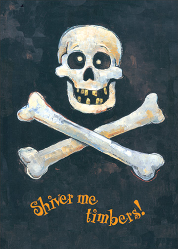 Skull & Crossbones (1 card/1 envelope) Halloween Card - FRONT: Shiver me timbers!  INSIDE: Happy Halloween, Matey!