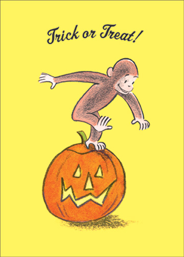 Curious George Halloween (1 card/1 envelope) Halloween Card - FRONT: Trick or Treat!  INSIDE: Happy Halloween!