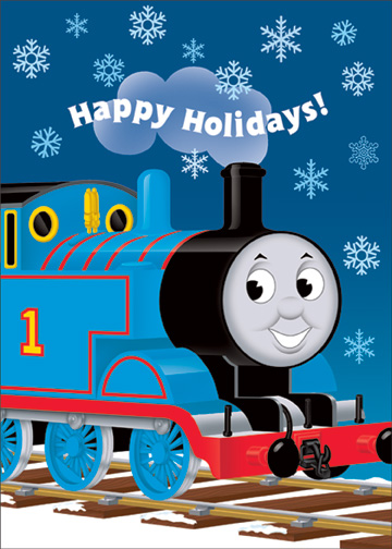 Thomas in Snow (12 cards & 12 envelopes) Thomas The Tank Engine Boxed Holiday Cards - FRONT: Happy Holidays!  INSIDE: And a bright New Year! Peep! Peep!