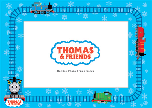 Thomas Photo Frame (10 cards & 10 envelopes) - Boxed Holiday Cards - FRONT: Thomas & Friends - Holiday Photo Frame Cards (Fits standard 4'' x 6'' photo)  INSIDE: Happy Holidays
