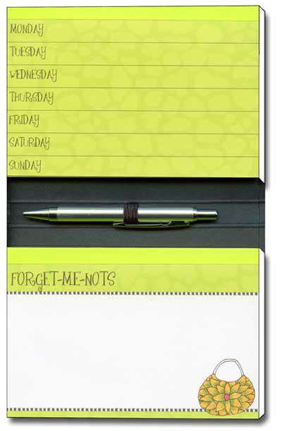 I Can't Remember Dolly Mama Funny Foil Forget-Me-Not Day Planner with Blank Note Pad - FRONT: I can�t remember what I just forgot!