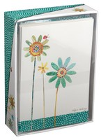 Green and Blue Flowers (14 cards/15 envelopes) - Boxed Blank Note Cards