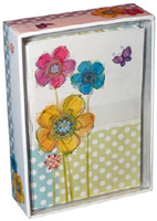 Flowers & Butterfly (14 cards/15 envelopes) - Boxed Blank Note Cards