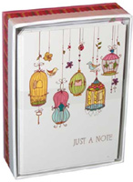 Birdcages (14 cards/15 envelopes) - Boxed Blank Note Cards - FRONT: Just a Note