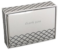 Silver Scallop (14 cards/15 envelopes) Pictura Boxed Thank You Cards