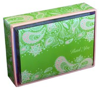 Green & Peach Paisley (14 cards/15 envelopes) Pictura Boxed Thank You Cards