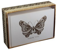 Gold Foil Butterfly (14 cards/15 envelopes) - Boxed Thank You Cards - FRONT: THANK YOU