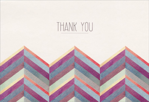 Colorful zigzag box of 14 thank you cards by pictura m4hsunfo