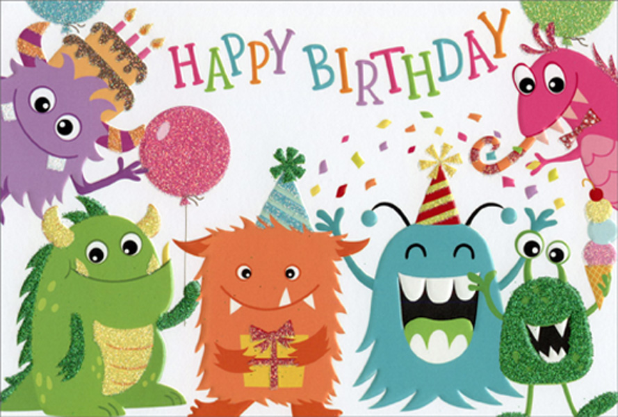 Fantastic Pictura Birthday Monsters Juvenile Kids Birthday Card Funny Birthday Cards Online Fluifree Goldxyz