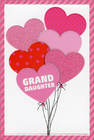 Pictura 3 Pink Hearts and Bow on White Paisley Valentine/'s Day Card for Daughter