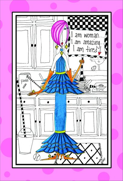I Am Women (1 card/1 envelope) - Birthday Card - FRONT: I am woman.. I am amazing.. I am tired!  INSIDE: Let's celebrate your birthday then take a nap!