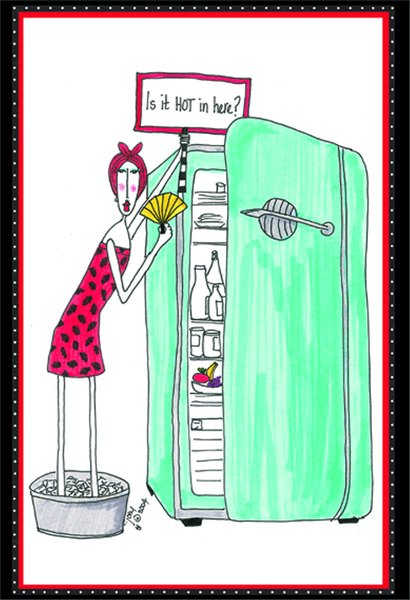 Is It Hot In Here? (1 card/1 envelope) Dolly Mama Funny Birthday Card - FRONT: Is it HOT in here?  INSIDE: Oh no.. it's just all those candles! Happy Birthday