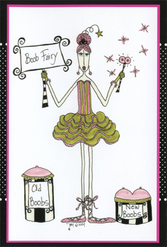 Boob Fairy (1 card/1 envelope) Dolly Mama Funny Birthday Card - FRONT: Boob Fairy  INSIDE: Happy Birthday from your bosom buddy!