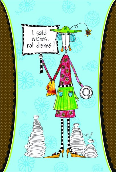 Wishes, Not Dishes (1 card/1 envelope) - Birthday Card - FRONT: I said wishes, not dishes!  INSIDE: It's hard to find a good fairy these days! Happy Birthday