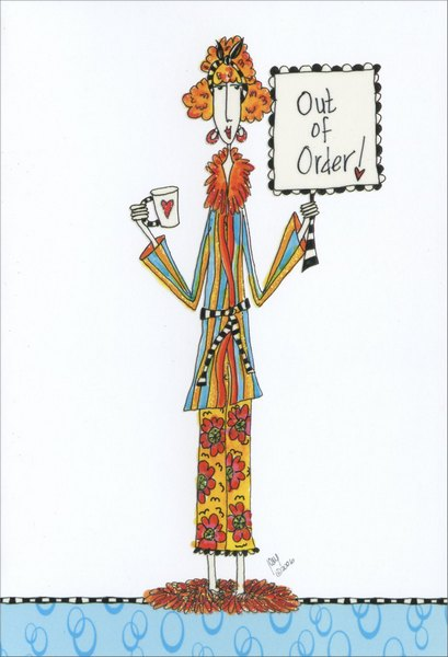 Out Of Order (1 card/1 envelope) - Get Well Card - FRONT: Out of order!  INSIDE: Feel better soon!