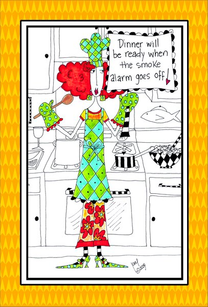 Smoke Alarm (1 card/1 envelope) Dolly Mama Funny Birthday Card - FRONT: Dinner will be ready when the smoke alarm goes off!  INSIDE: Hope your birthday is smoking!