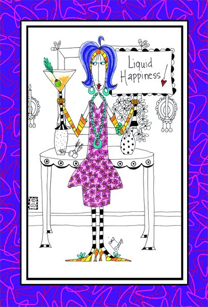Liquid Happiness (1 card/1 envelope) Dolly Mama Funny Birthday Card - FRONT: Liquid Happiness!  INSIDE: Bottom's up! Happy Birthday