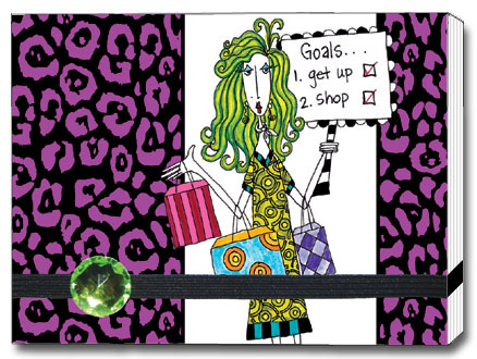 Goals Dolly Mama Funny Foil Forget-Me-Not Day Planner with Blank Note Pad - FRONT: Goals� 1. Get up  2. Shop