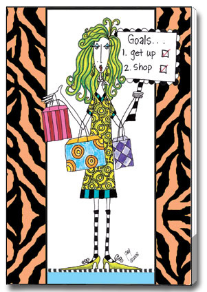 Goals (85 colored sheets) Dolly Mama Funny Foil Purse Pad - FRONT: Goals� 1. Get up  2. Shop