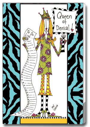 Queen of Denial (85 colored sheets) Dolly Mama Funny Foil Purse Pad - FRONT: Queen of Denial!