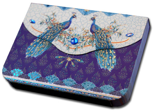 Turquoise Peacocks (90 sheets) Pictura Indigo Moon Embellished Gem Purse Pad