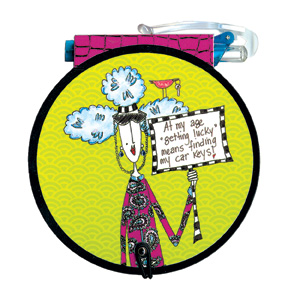 Getting Lucky (85 colored sheets) Dolly Mama Funny Round Purse Pad - FRONT: At my age �getting lucky� means finding my car keys!