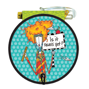 Is it recess yet (85 colored sheets) - Round Purse Pad - FRONT: Is it recess yet?