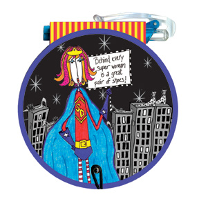 Superwoman (85 colored sheets) Dolly Mama Funny Round Purse Pad - FRONT: Behind every super woman is a great pair of shoes!