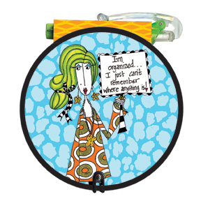 I'm Organized (85 colored sheets) Dolly Mama Funny Round Purse Pad - FRONT: I'm organized� I just can't remember where anything is!
