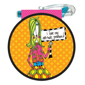 I Love My Attitude Problem! (85 colored sheets) - Round Purse Pad - FRONT: I love my attitude problem!
