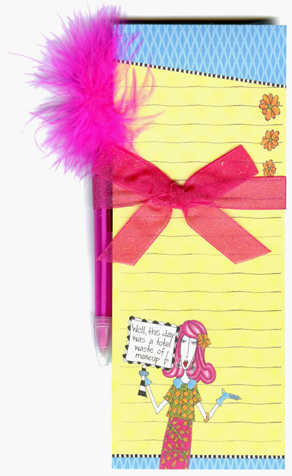 Waste Of Make Up (1 magnetic shopping pad/1 feather pen) Dolly Mama Funny Magnetic Shopping List Pad with Feather Pen - FRONT: Well, this day was a total waste of makeup!