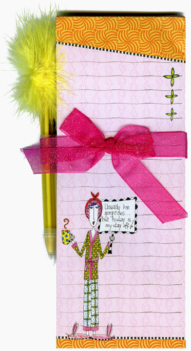 Day Off (1 magnetic shopping pad/1 feather pen) Dolly Mama Funny Magnetic Shopping List Pad with Feather Pen - FRONT: Usually I'm gorgeous� but today is my day off!