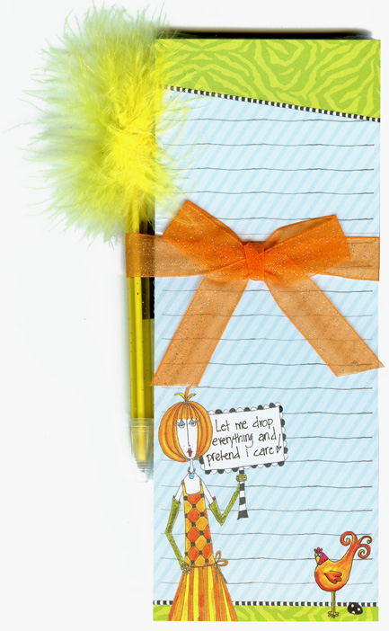 Pretend I Care (1 magnetic shopping pad/1 feather pen) Dolly Mama Funny Magnetic Shopping List Pad with Feather Pen - FRONT: Let me drop everything and pretend I care!