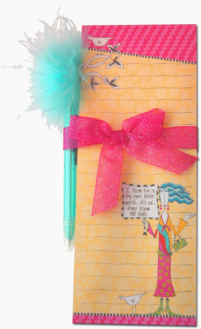 My Own Little World (1 magnetic shopping pad/1 feather pen) Dolly Mama Funny Magnetic Shopping List Pad with Feather Pen - FRONT: I know I'm in my own little world� it's ok, they know me here.
