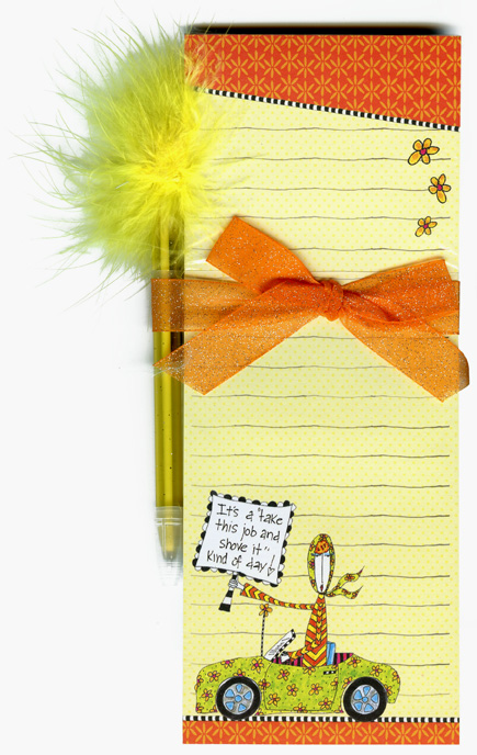 Shove It (1 magnetic shopping pad/1 feather pen) Dolly Mama Funny Magnetic Shopping List Pad with Feather Pen - FRONT: It's a �take this job and shove it� kind of day!