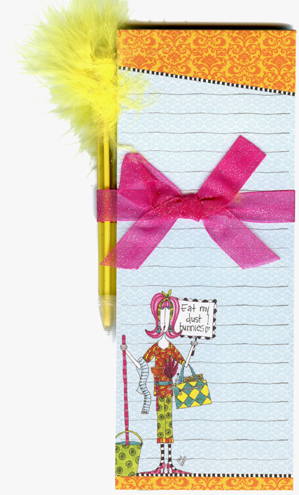 Eat My Dust Bunnies (1 magnetic shopping pad/1 feather pen) Dolly Mama Funny Magnetic Shopping List Pad with Feather Pen - FRONT: Eat my dust bunnies!