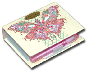 Whimsy Butterfly (150 sheets) Pictura Butterfly Collection Embellished Sticky Notes with Pen