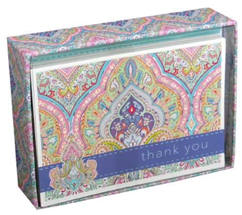 Purple pink paisley box of 14 thank you cards by pictura m4hsunfo