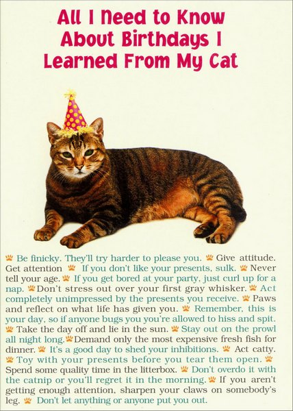 All I Need From Cat (1 card/1 envelope) - Birthday Card - FRONT: All I Need To Know About Birthdays I learned From My Cat  *  Be finicky. They'll try harder to please you.  *  Give attitude. Get Attention.  *  If you don't like your presents, sulk.  *  Never tell your age.  *  If you get bored at your party, just curl up for a nap.  *  Don't stress out over your first gray whisker.  *  Act completely unimpressed by the presents you receive.  *  Paws and reflect on what life has given to you.  *  Remember, this is your day, so if anyone bugs you you're allowed to hiss and spit.  *  Take the day off and lie in the sun.  *  Stay out on the prowl all night long.  *  Demand only the most expensive fresh fish for dinner.  *  It's a good day to shed you inhibitions.  *  Act catty.  *  Toy with your presents before you tear them open.  *  Spend some quality time in the litterbox.  *  Don't overdo it with the catnip or you'll regret it in the morning.  *  If you aren't getting enough attention, sharpen your claws on somebody's leg.  *  Don't let anything or anyone put you out.  INSIDE: And remember curiosity might kill you but birthdays won't!  Happy Birthday
