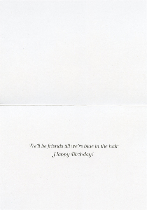 Blue in the Hair Birthday (1 card/1 envelope) Funny Portal Birthday Card - FRONT: No Text  INSIDE: We'll be friends until we're blue in the hair - Happy Birthday!
