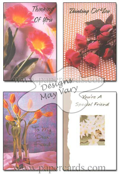 Foiled Friendship Assortment FR2 (12 cards with envelopes) Boxed Friendship Cards - FRONT: Various  INSIDE: Various