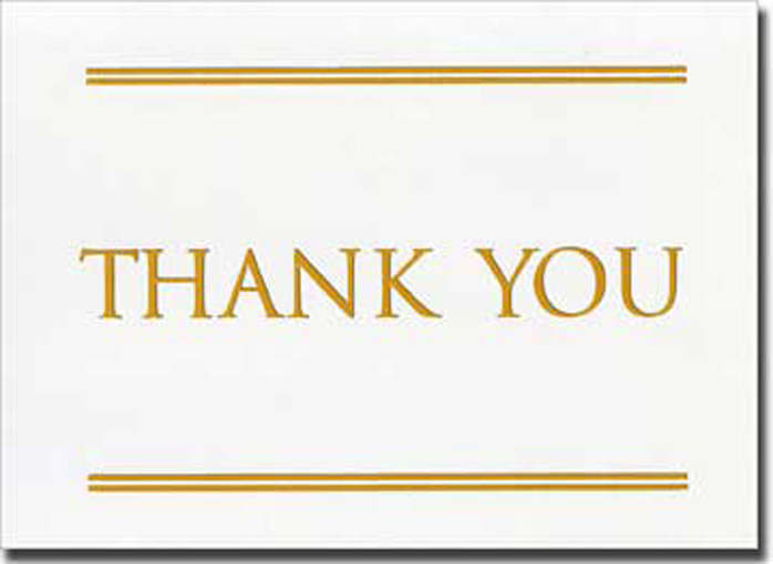 Gold Times w/Double Line Thank You (20 cards/20 envelopes) Boxed Thank You Cards - FRONT: Thank You