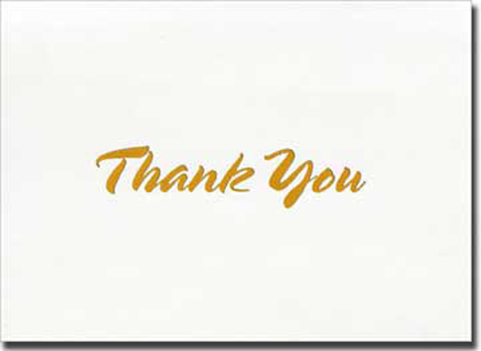 Gold Thick Script Thank You (20 cards/20 envelopes) Boxed Thank You Cards - FRONT: Thank You