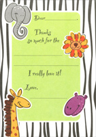 Zoo Animal Thank You Note Cards (8 Pack)
