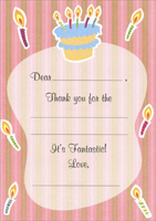 Cake & Candles Thank You Note Cards (8 Pack)