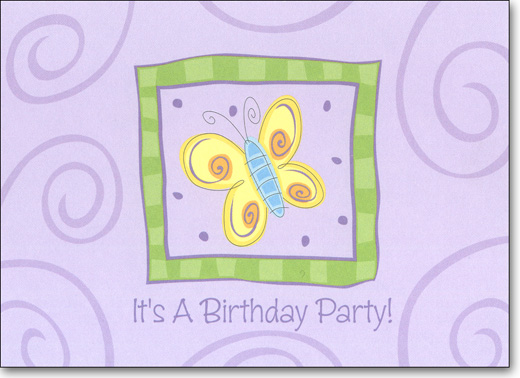 Butterfly (25 Cards/28 Envelopes) Birthday Boxed Invitations - FRONT: It's A Birthday Party!  INSIDE: You're Invited To A Birthday Party For: ____ - Date - Time - Place - RSVP