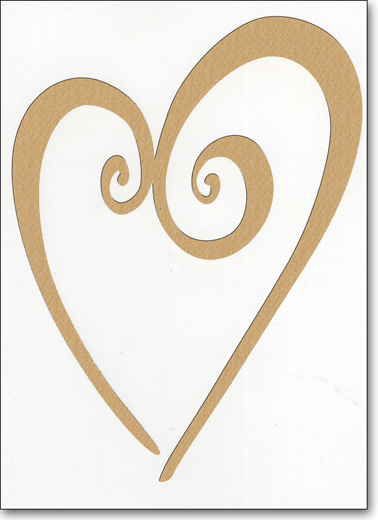 Gold Foil Heart (25 Cards/28 Envelopes) - Boxed Blank Notes - FRONT: No Text  INSIDE: Blank Inside