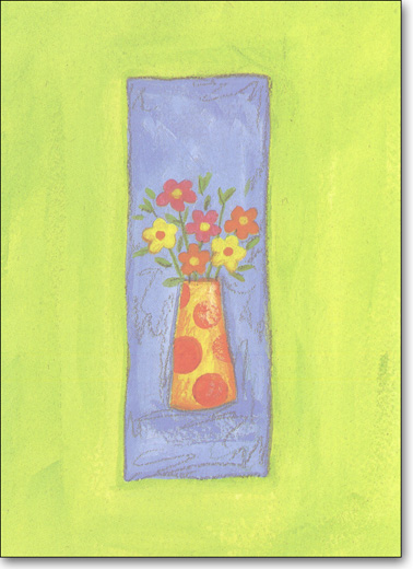 Flower Vase (25 Cards/28 Envelopes) - Boxed Blank Notes - FRONT: No Text  INSIDE: Blank Inside